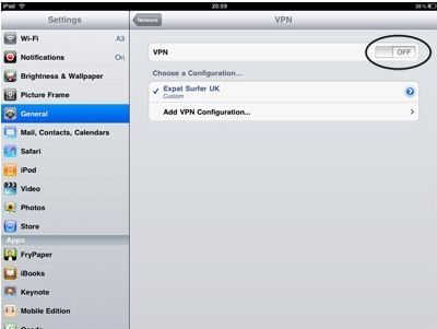 ipad2 vpn setup